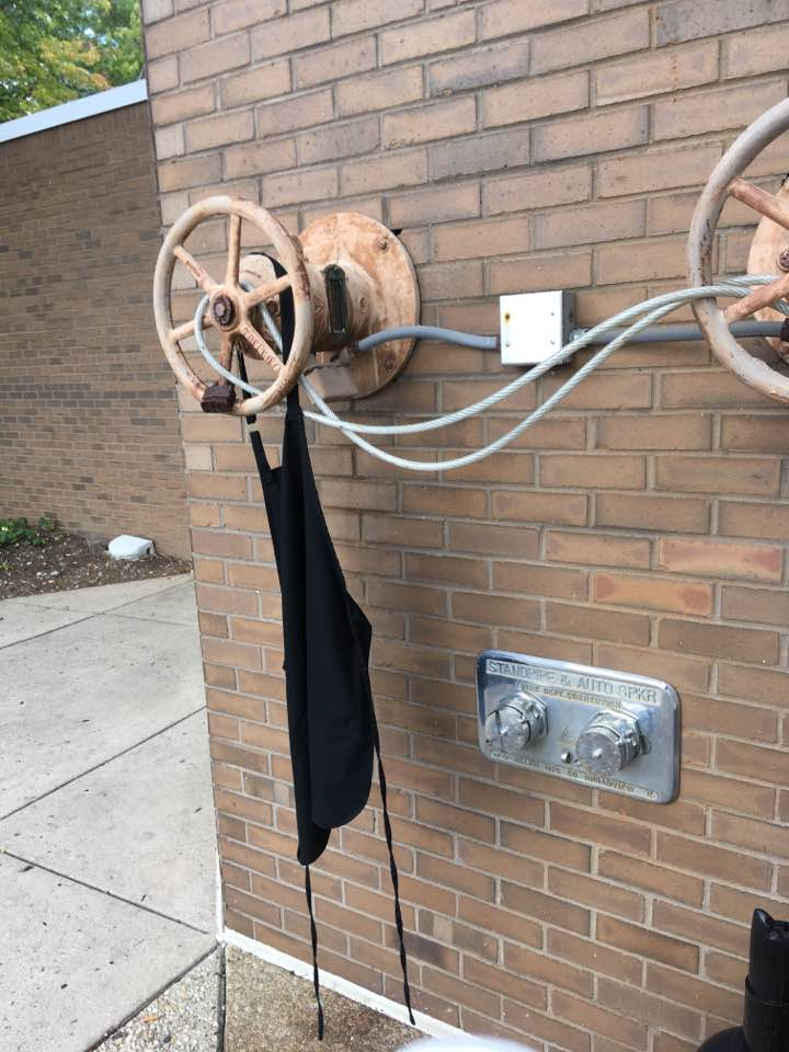 apron hanging on wheel